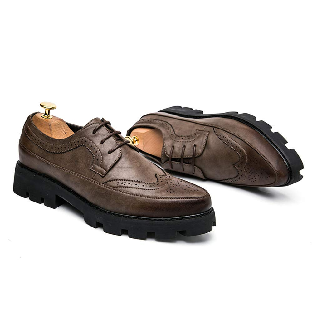 Color : Brown, Size : 8 D US M Hilotu Clearance Mens Classic Business Oxford Casual Chic Retro Painted Outsole Waterproof Pointed Toe Brogue Shoes