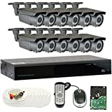 GW Security 16-Channel HD-TVI 1080P Complete Security System with (12) x True HD 1080P Outdoor/Indoor 2.8-12mm Varifocal Zoom Bullet Security Cameras and 4TB HDD, QR Code Scan Free Remote View
