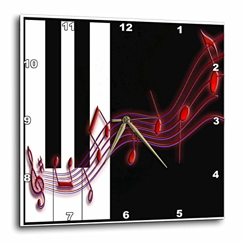 3dRose Red Music Notes on Piano Keys Wall Clock, 10 by 10-Inch
