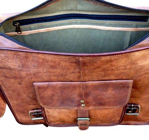 artigianale progettista valigetta del computer portatile di cuoio satchel bag portafoglio messenger rustico retrò chic