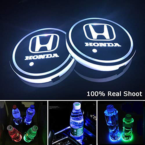 AutoDIY Led Car Logo Cup Lights up Holder USB Charging Waterproof Bottle Drinks pad 7 Colors Changing Atmosphere Lamp mat Cars for Luminous Coasters 2PCS(for Honda) ()