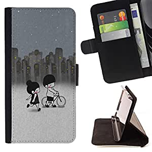 Devil Case- Estilo PU billetera de cuero del soporte del tir¨®n [solapa de cierre] Cubierta FOR Samsung Galaxy G360 G3608 G3606- Cartoon Girl Cute