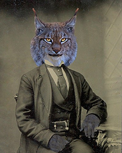 (Victorian LYNX Man cat portrait kitty altered anthro art print)