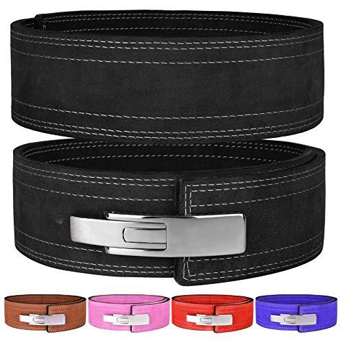 "Hawk Sports Lever Belt 10mm Powerlifting Belt for Men & Women Buckle Strongman Power Weight Lifting Weightlifting Belts (Black, M (32""-38""))"