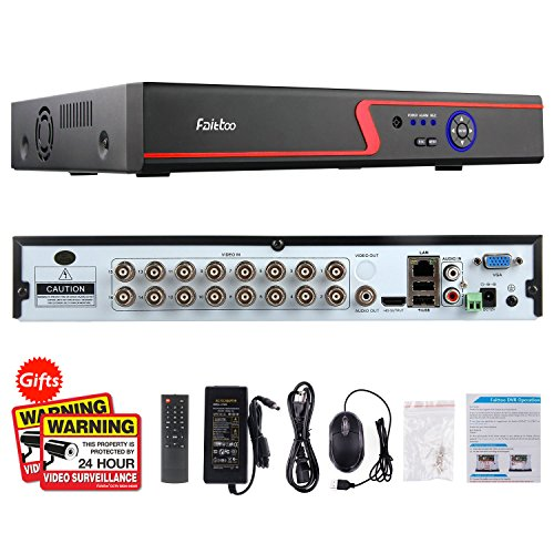 Faittoo H.264 16CH 1080N AHD DVR Hybrid AHD+HVR+TVI+CVI+NVR 5-in-1 Security System Realtime Standalone CCTV Surveillance Onvif P2P Quick QR Code Scan w/Easy Remote View HDMI/VGA Output (NO - Stand Dvr Mobile Alone