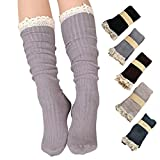 Roniky 5 Pack Women Cotton Crochet Boot Socks with Lace Trim Knit Knee High Stockings (5 colors pack)