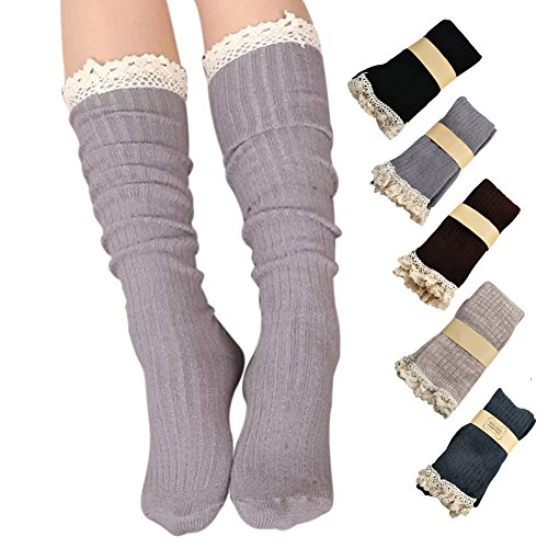 Roniky 5 Pack Women Cotton Crochet Boot Socks with Lace Trim Knit Knee High Stockings (5 colors -