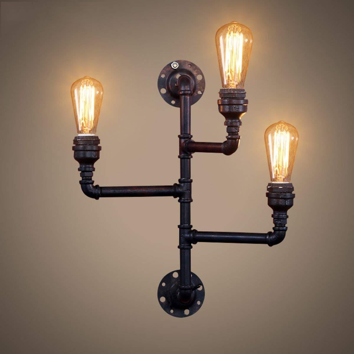 BXJ アメリカのレトロな壁ランプ鉄の壁ランプ水道管の壁ランプE27光源 B07R4DSYWL