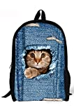 Denim Style Cute Cat Print Casual Backpacks Lightweight Daypack CDP-C3304C Review