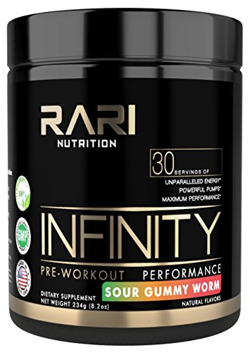 RARI Nutrition - INFINITY 100% Natural Pre Workout Powder for Energy, Focus, and Performance - No Creatine – No Artificial Flavors or Colors - Vegan and Keto - 30 Servings - Sour Gummy Worm