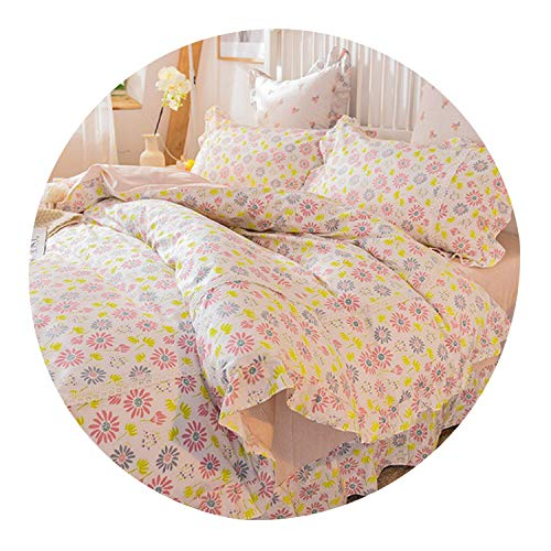 Princess Style Pure Cotton 3 4 Pcs Bedding Set Duvet Cover Bed Sheet Pillowcases Pink Little Flower Leaf Blue Color Soft Feeling,04,Queen 4pcs - Buckle Helena