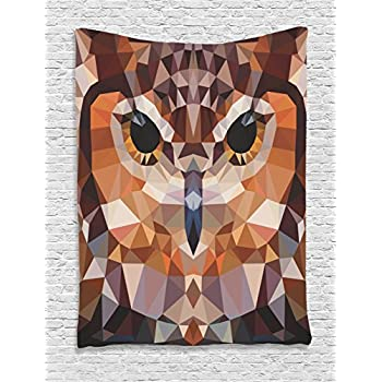 Owl Tapestry Geometric Decor by Ambesonne, Mosaic Owl Head in Linked Triangle Forms Retro Style Theme Funky Geometric Art Boho Decor, Bedroom Living Room Dorm Wall Hanging Tapestry, Brown Orange