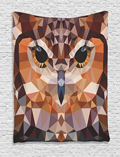 Geometric Decor Tapestry By Ambesonne, Mosaic Owl Head In Linked Triangle Forms Retro Style Funky Geometric Art Boho Decor, Bedroom Living Room Dorm Decor, 40 W x 60 L Inches, Brown Orange (Art Triangle Wall)