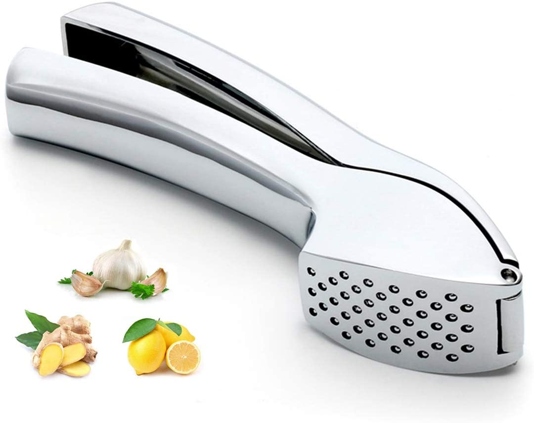 Professional Garlic Press Heavy Duty Zinc Alloy Crusher Slicer Mincer Squeezer