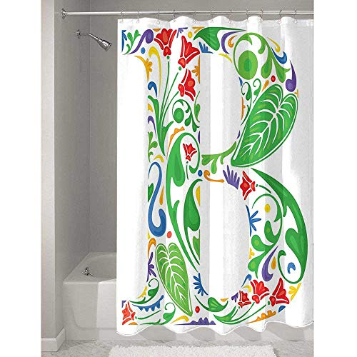DouglasHill Letter B Affordable Polyester Shower Curtain Capital with Spring Herbs Flowers Petals Leaves Nature Harvest Swirls Vivid Image Easy to Maintain and Durable W66 x L72 Inch Multicolor