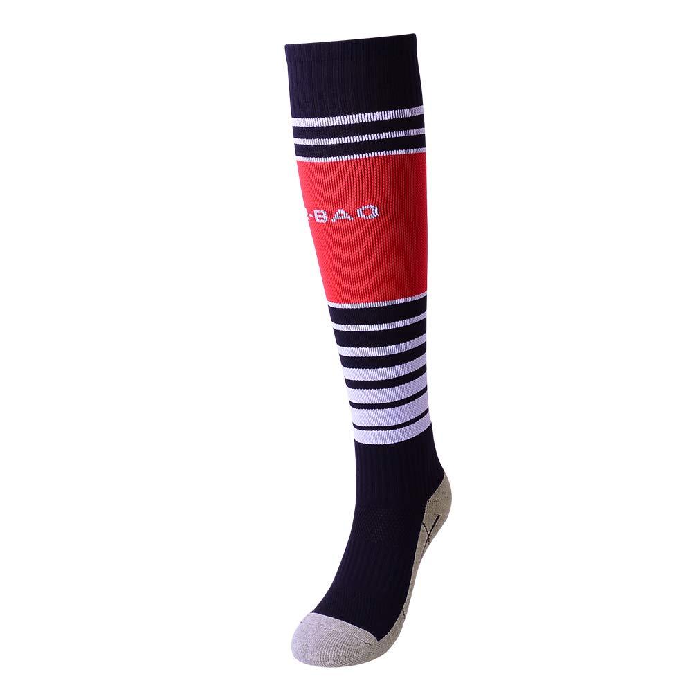 Striped Football Socks for Boys Girls Over the Knee Long Sport Socks for Kids 1 Pack Black B by Gupying