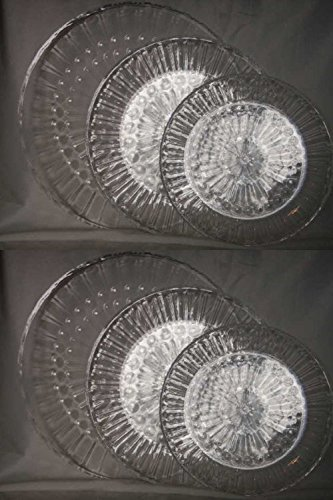 Set of 6 Clear Acrylic Round Serving Trays 9.5-12-13.5dia Crystal Cut Look Plastic (2 of each Size)