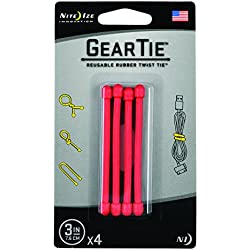 Nite Ize Original Gear Tie, Reusable Rubber Twist Tie, Made in the USA, 3-Inch, Red, 4 Pack