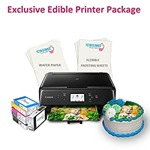 Icinginks Latest Edible Printer Exclusive Package With 110 Edible Sheets, Edible Printer, Wafer Paper, Flexible Frosting Sheets, Refillable Edible Cartridges - Best Canon Edible Image Cake Printer