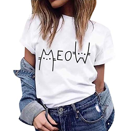 Women's Summer Short Sleeve Round Neck Cat Meow Letter Printing T-Shirt Tee Tops Casual Blouse