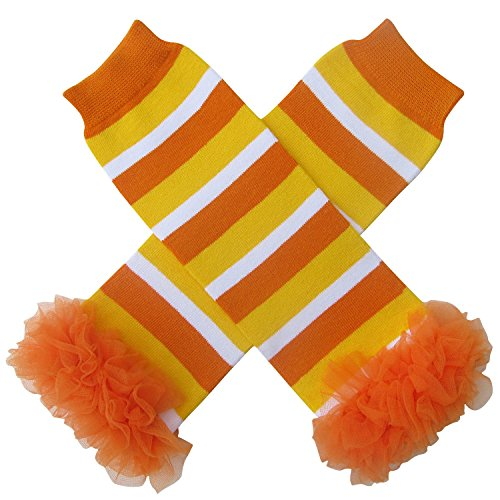 Chiffon Ruffle Halloween Costume Spooky Styles Leg Warmers - One Size - Baby, Toddler, Girl (Chiffon Candy Corn) -