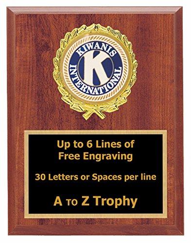 Kiwanis Plaque Awards 7x9 Wood Fraternal Trophies Club Trophy Free Engraving