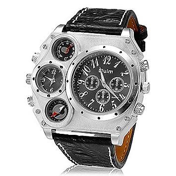 Relojes Hermosos, Hombre Dual Time Zone brújula termómetro Grandes PU del dial banda de cuarzo