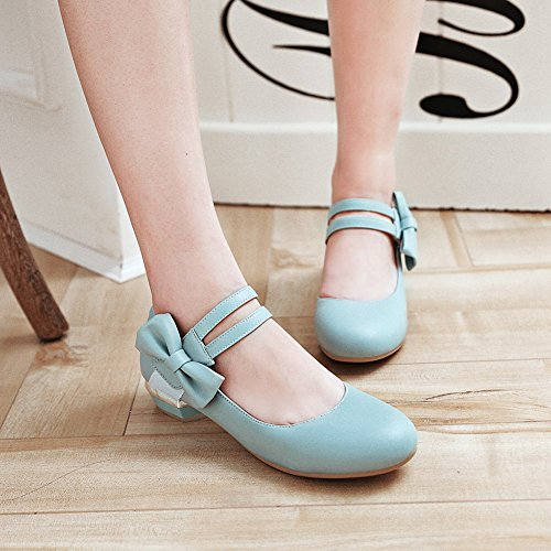 Bows And Easemax Strap Sweet Womens Pumps Low Toe Shoes Hook Blue Loop Chunky Round Heel xxwSa1