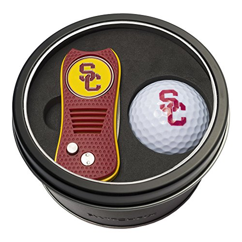 Team Golf NCAA USC Trojans Gift Set Switchfix Divot Tool with Double-Sided Magnetic Ball Marker & Golf Ball, Patented Single Prong Design, Less Damage to Greens, Switchblade ()