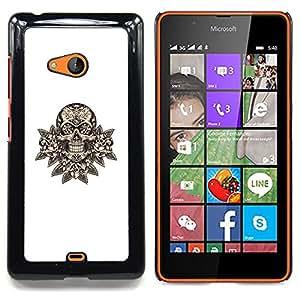 - skull floral minimalist white death rock - - Modelo de la piel protectora de la cubierta del caso FOR Microsoft Nokia Lumia 540 N540 RetroCandy