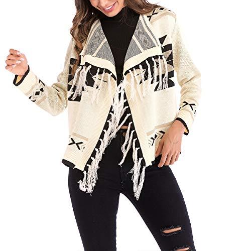 para Geometría de chaqueta punto manga impresión L Apricot Causal mujer de cardigan Color borlas ZFFde de tamaño larga Coat Invierno 5w7qARgz