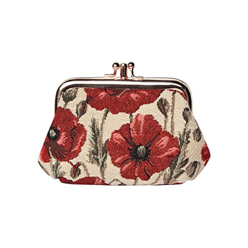Signare Tapestry Red and White Double Clasp Frame Coin Change Purse with Poppy Flower (FRMP-POP)