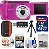 Vivitar ViviCam VXX14 Selfie Digital Camera (Pink) with 32GB Card + Case + Flex Tripod + Reader + Kit