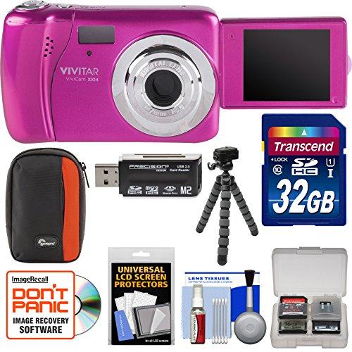 Vivitar ViviCam VXX14 Selfie Digital Camera (Pink) with 32GB Card + Case + Flex Tripod + Reader + Kit by Vivitar