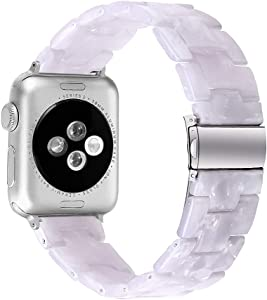 MEFEO Compatible with Apple Watch Band 38mm 40mm 42mm 44mm, Stylish Resin Bands Bracelet Replacement for iWatch Series 6 Series 5/4/3/2/1 & iWatch SE Women Men (Shinng White, 42mm/44mm)