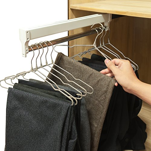 Pull-Out Closet Valet Rod Adjustable Wardrobe Clothing Rail AINGER(17.7 inches) -
