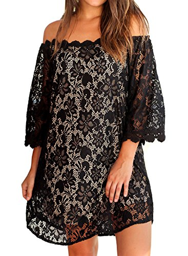 - MIHOLL Women's Off Shoulder Lace Shift Loose Mini Dress (XX-Large, Black)