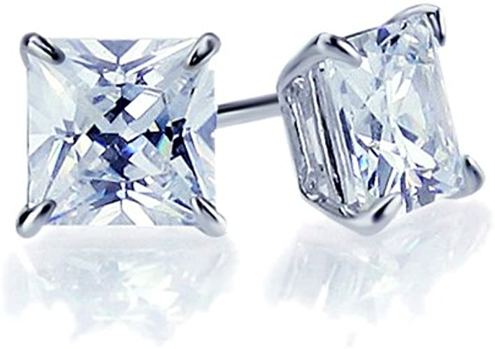 CZ Solitaire Princess Square Basket Set Stud Earrings 14K White Gold Clad Silver