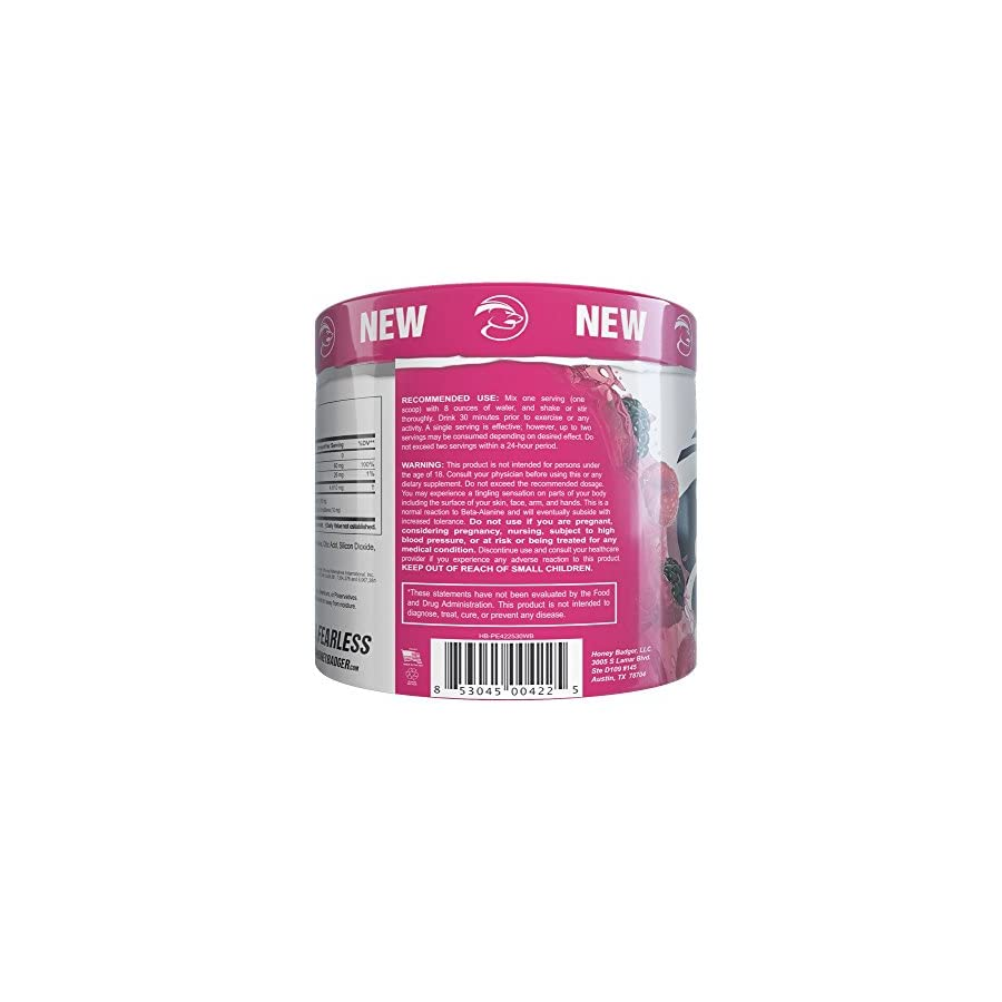 Honey Badger Performance Energy Natural Pre Workout for Men & Women (Wild Berry, Naturally Flavored, 30 Servings, Sucralose Free, No Artificial Colors or Sweeteners, Beta Alanine)