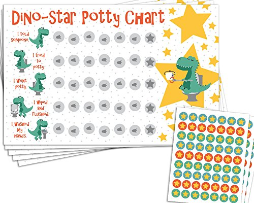 graphic regarding Potty Training Chart Printable named Potty Working out Gain Chart with 189 Star Stickers for Newborn Boys or Gals - Dinosaur Concept - Heavy 11 x 17 dimensions