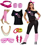Women's I Love The Pink Ladies 50s T-Shirt Complete 50s 80s Costume Set (L/XL, Pink)