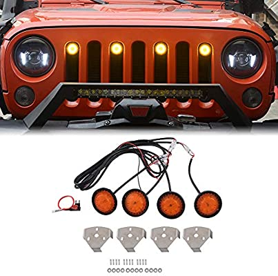 ZGAUTO Original Grille Amber Light Fits for Jeep Wrangler JK Rubicon Sahara 2007-2015(4 Pcs,The Grille without The Insert Frame Trims)