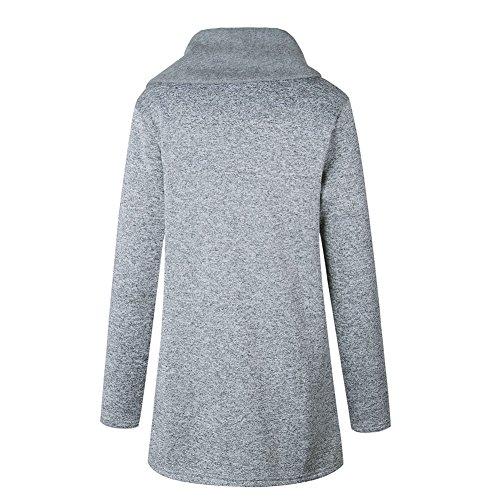 bolsillos alto sudadera claro Mujeres Coat Único con invierno Outwear Jacket más largo cuello Hzjundasi Gris Casual tamaño cremallera HSq4wqA
