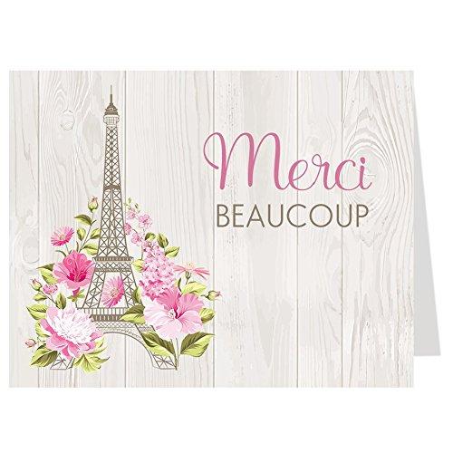 Thank You Cards, Paris Love Story, Bridal Shower Thank You Cards, Paris Bridal Shower, Paris Wedding Shower, Eiffel Tower, Oh la la, Merci Beaucoup, Set of 50 Folding Notes with Envelopes
