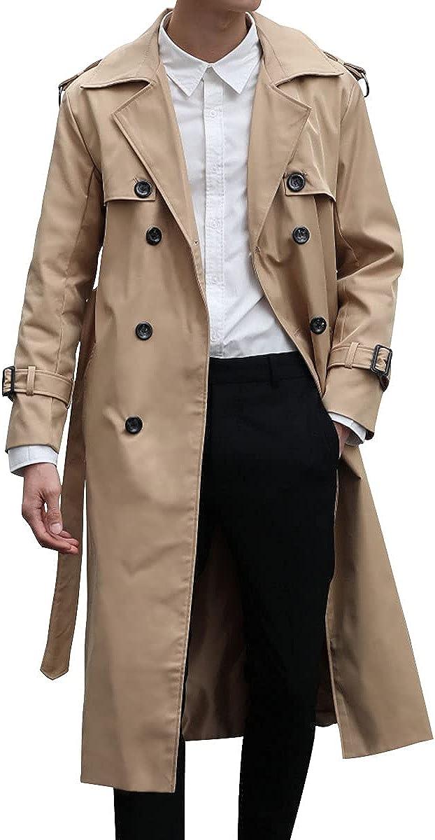 Men Woolen Overcoat Jacket Trench coat Double breasted Lapel Long sleeve Fall