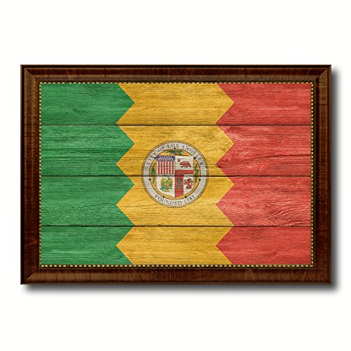 (Los Angeles City California State Flag Texture Canvas Print Brown Picture Frame Home Decor Wall Art Decoration Gifts - 21