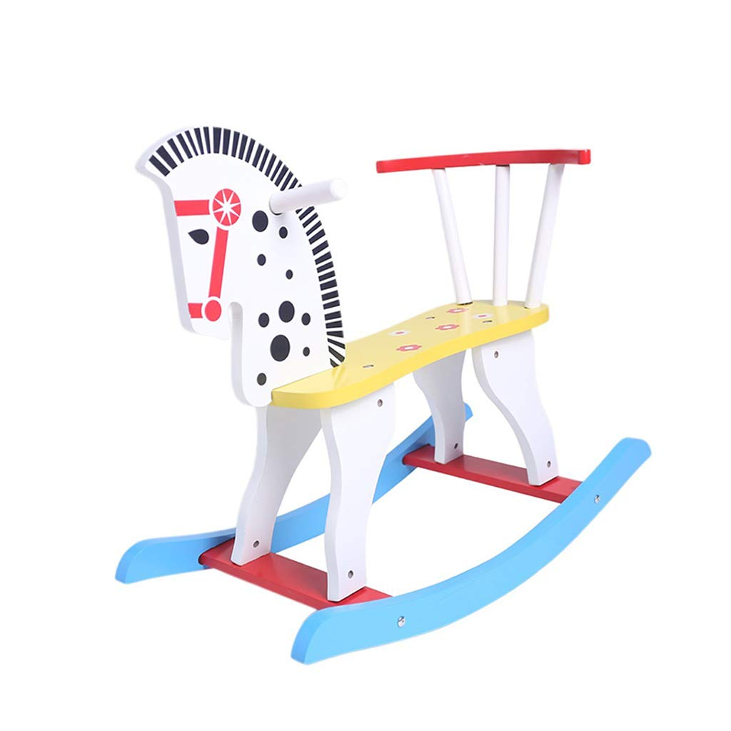 QIQIDEDIAN ロッキングホース子供ロッキングホースおもちゃ赤ちゃんロッキングチェアソリッドウッドベビー1-3歳 (Color : A)  A B07KNKK5NC