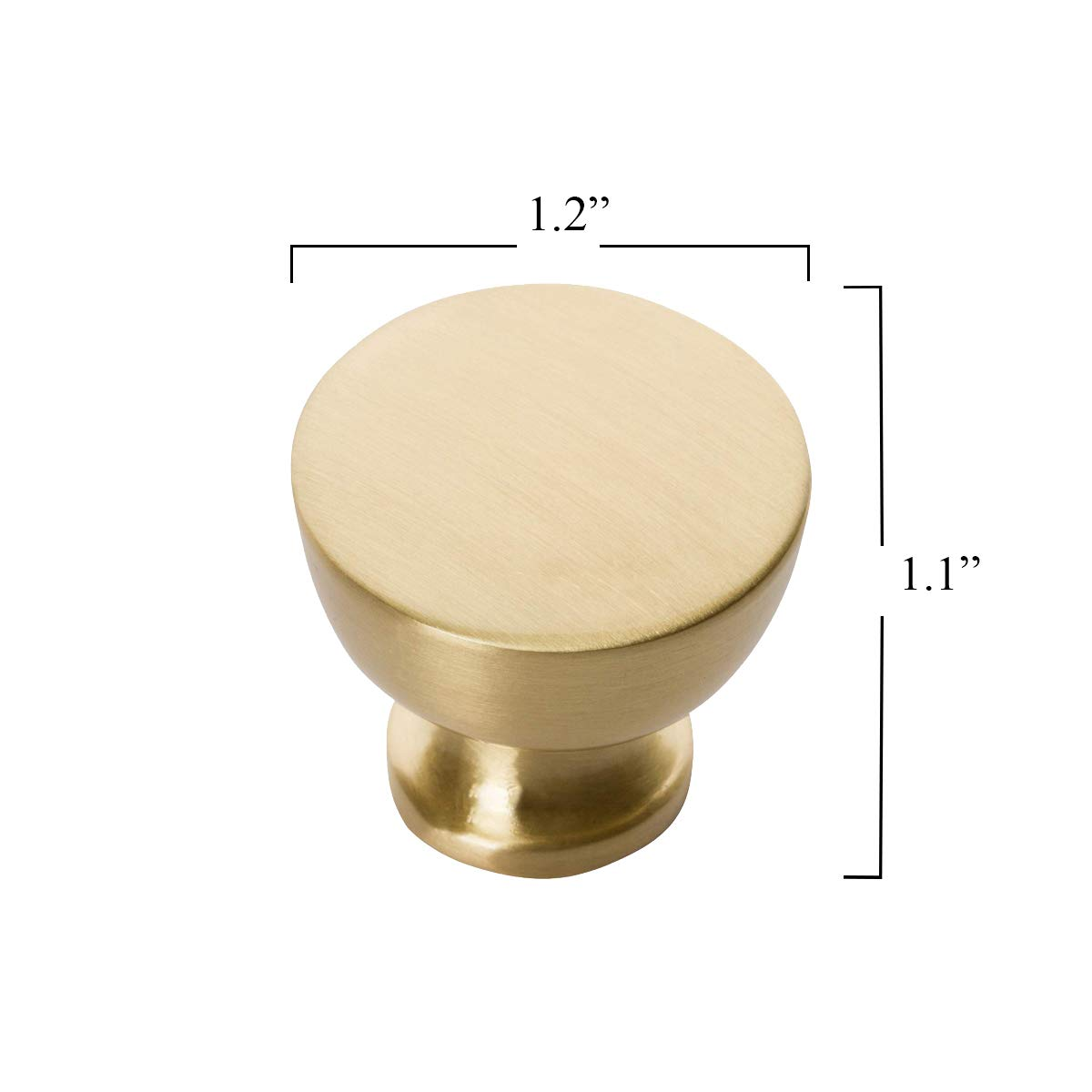 Southern Hills Satin Brass Cabinet Knobs - Pack of 5 -Brushed Brass Knobs - Round - Pack of 5 - Kitchen Drawer Pulls SHKM013-BRS-5 by Southern Hills (Image #3)