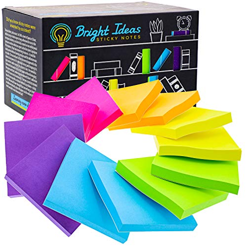 Sticky Note Pads 3x3 - Colorful Sticky Notes 12 Pads per Pack /100 Sheets per Pad