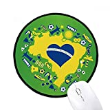 Heart-shaped Orderm Brazil Maps Round Non-Slip Mousepads Black Titched Edges Game Office Gift